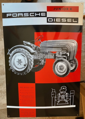 "Limited Production Enamel Porsche Junior K Diesel Sign (24"" x 16"")"