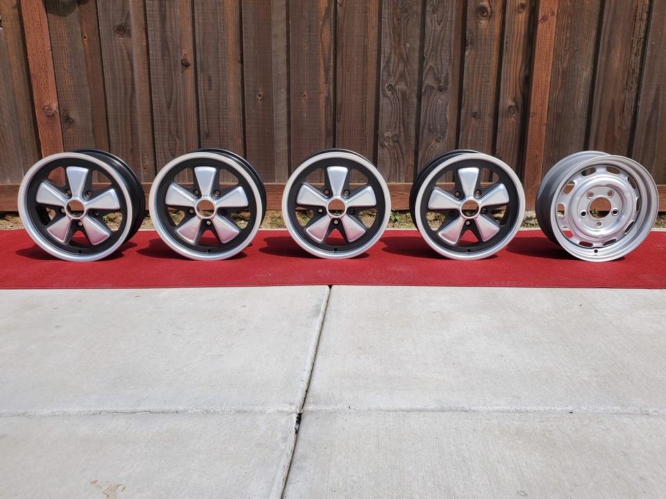 "1971 Porsche 15"" x 6"" Fuchs Wheels with 15"" x 5.5"" Spare"