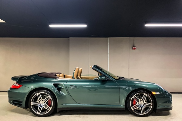 15K-Mile 2009 Porsche 997 Turbo Cabriolet 6-Speed Malachite Green Metallic