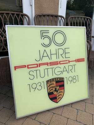 "Illuminated 50 Year Anniversary Porsche Sign (32"" x 32"")"