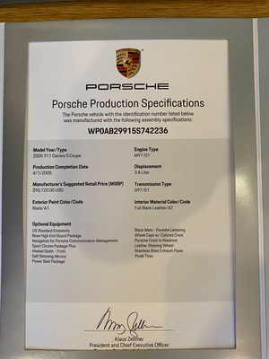 2005 Porsche 997 Carrera S 6-Speed