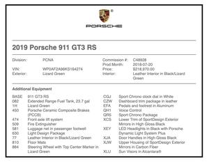 2019 Porsche 991.2 GT3 RS Lizard Green