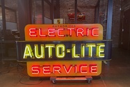 """1940-50s """"Auto-Lite Authorized Electric Service"""" Double-sided Porcelain Neon Sign"""