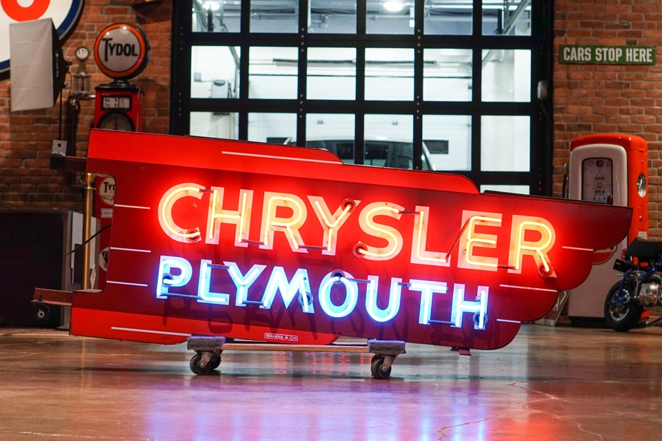 1940s Chrysler Plymouth Double-Sided Porcelain Neon Sign