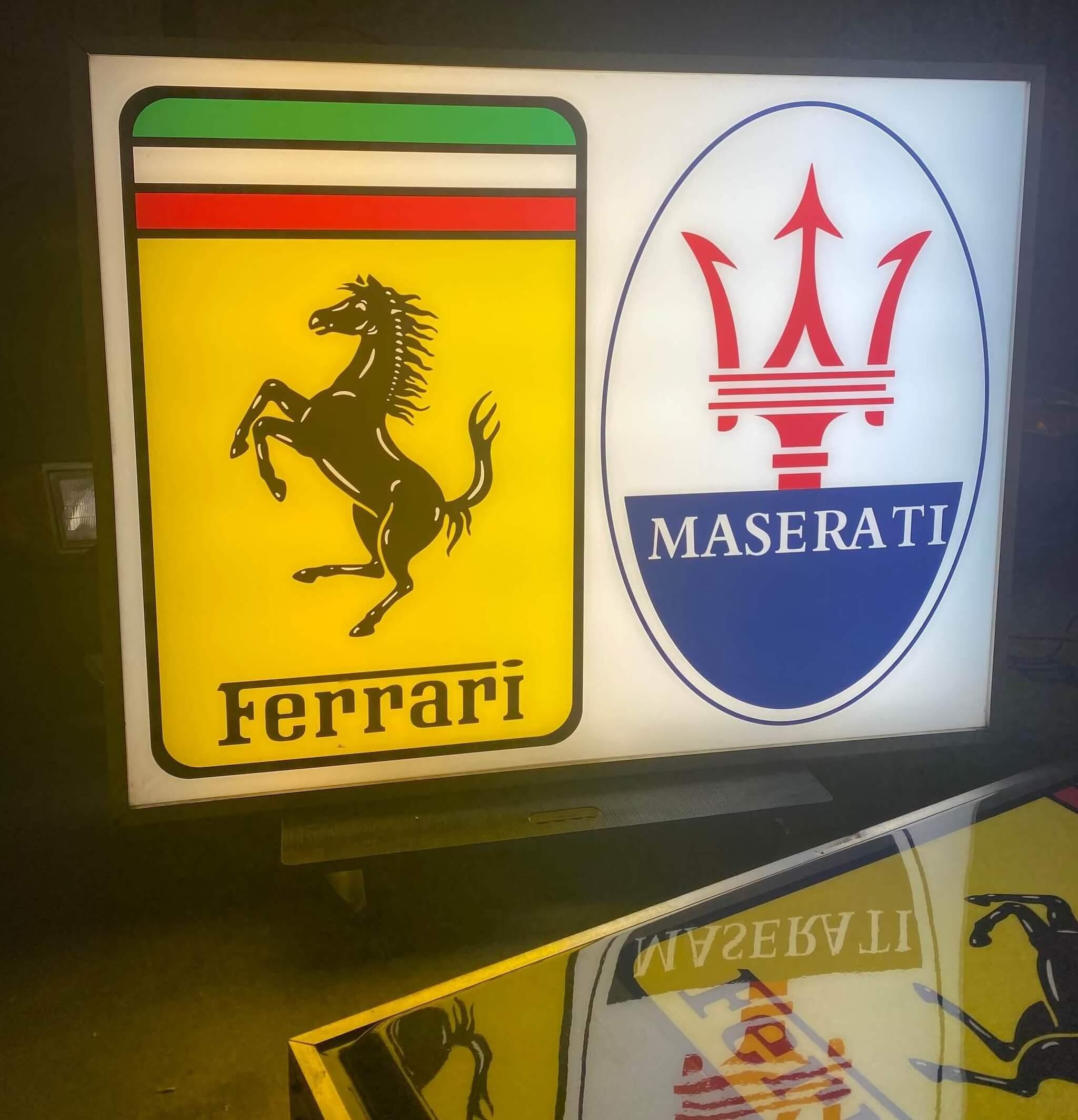 Illuminated Double-Sided Ferrari / Maserati Dealership Sign