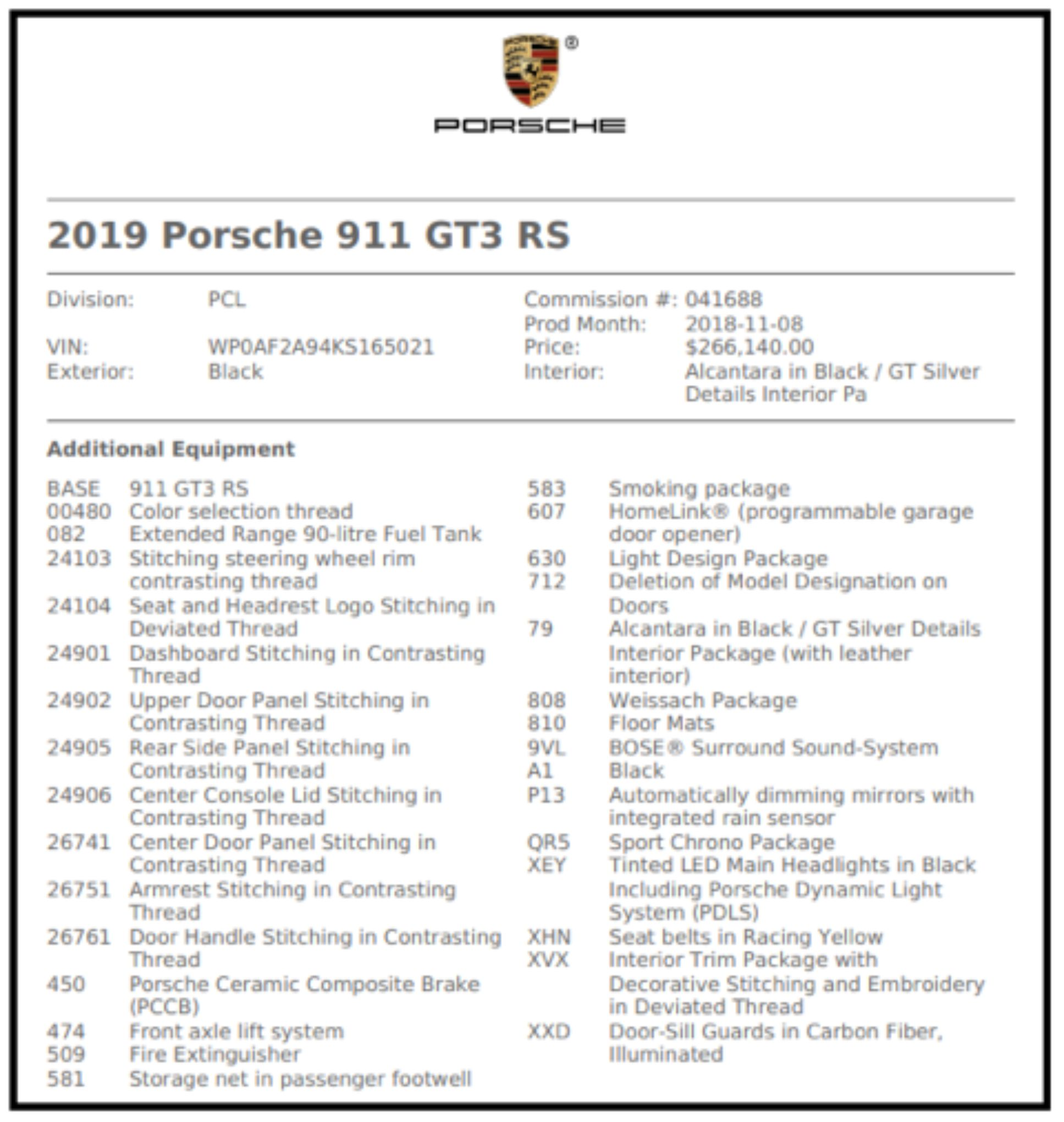 2019 Porsche 911 Gt3 Rs: DEAL TANK: 2019 Porsche 911 GT3 RS Weissach Edition