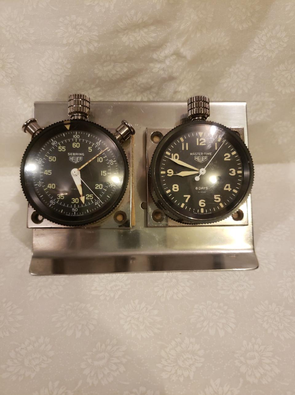 Vintage Heuer Dashboard Instruments - Master Time Clock & Sebring Timer