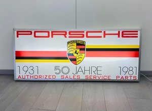 "No-Reserve Porsche 50th Jahre (Year) Anniversary Illuminated Sign - 54"" x 22"""