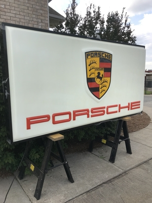 "DT: Original Porsche Dealership Illuminated Display (49"" x 97"")"