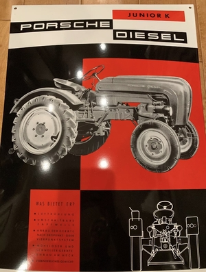 DT: Limited Production Enamel Porsche Junior K Diesel Tractor Sign