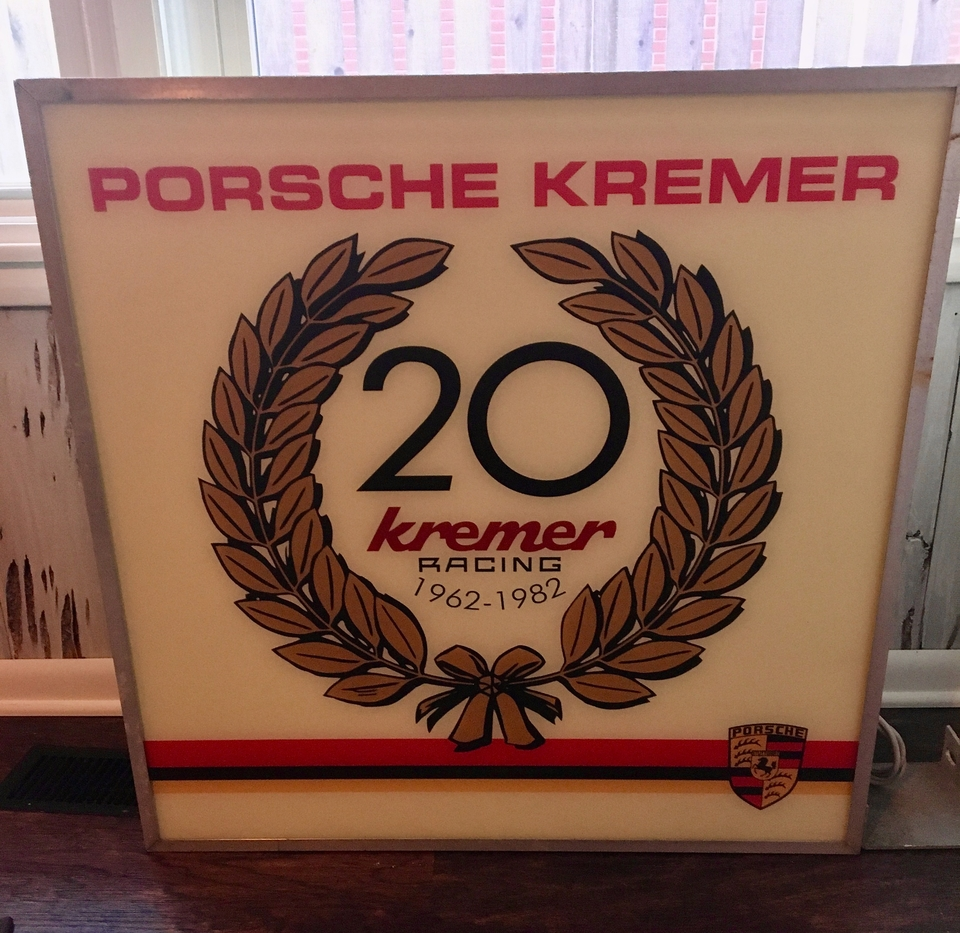 """DT: DOUBLE-SIDED KREMER RACING 80S ILLUMINATED SIGN (31.5"""" X 31.5"""")"""