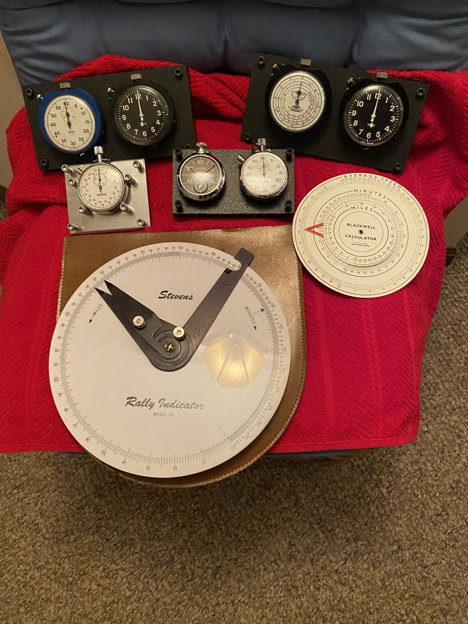 Seven Vintage British Rally Racing Timers & Stopwatches