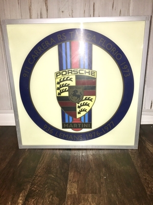 "DT: Illuminated Factory Porsche Martini Racing Celebration Sign (25"" x 25"")"