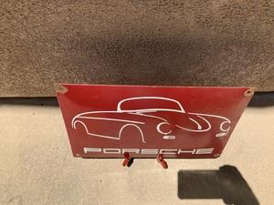 """DT: Vintage Porcelain Porsche 356 Sign (15 3/4"""" x 10"""")"""
