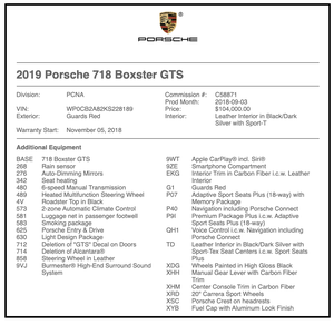 DT- DIRECT 2019 Porsche 718 Boxster GTS 6-Speed