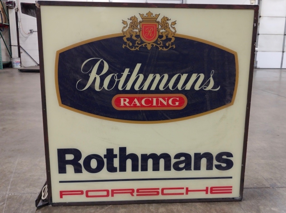 "DT: Double-sided Rothmans Racing Illuminated Porsche Sign (36"" x 36"")"