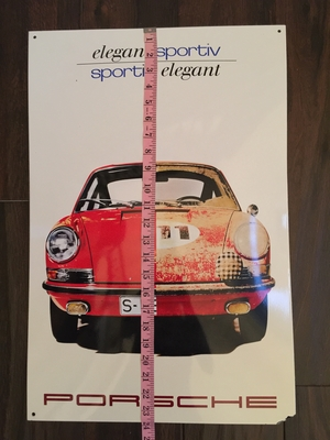 "NO RESERVE - Limited Production Enamel Porsche ""Elegant Sportiv"" Sign"